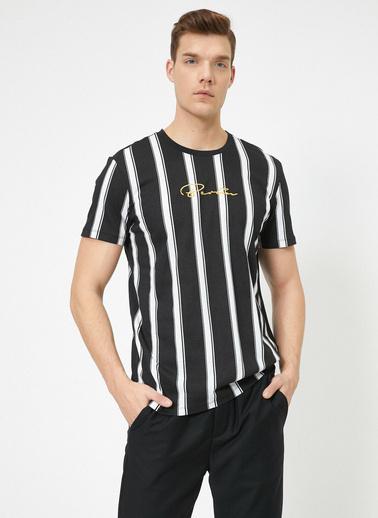 Koton Çizgili T-Shirt Siyah